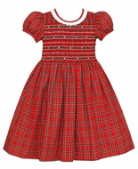 Anavini Couture Girls Red Holiday Plaid Dress - Ruffle Collar - Fully Smocked Bodice