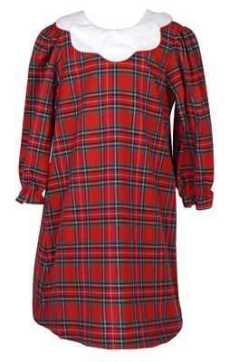 Anavini Couture Girls Red Holiday Plaid Dress - Scallop Collar - Sash - V-Back with Big Red Bow
