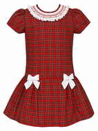 Anavini Couture Girls Red Holiday Plaid Shift Dress with Bows - Smocked Collar