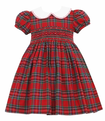 Anavini Couture Girls Red Holiday Plaid Smocked Dress - Fancy Collar