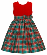 Anavini Couture Girls Red Velvet / Green Holiday Plaid Silk Sleeveless Christmas Party Dress