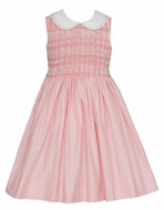 Anavini Couture Girls Sleeveless Coral Check Dress with Collar - Fully Smocked Bodice