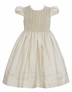 Anavini Couture Girls Sparkle Gold Holiday Party Dress - Fully Smocked Bodice