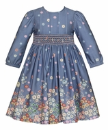 Anavini Couture Girls Steel Blue / Gray Smocked Waist Dress - Colorful Flower Border