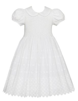 Anavini Couture Girls White Embroidered Eyelet Dress with Collar - Fully Smocked Bodice