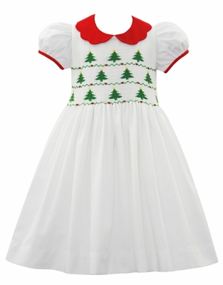 Anavini Couture Girls White Fully Smocked Christmas Trees Dress - Red Scallop Collar