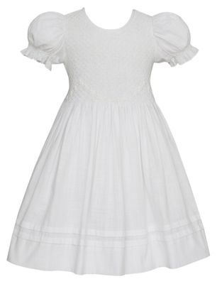 Anavini Couture Girls White Linen Look Cotton Smocked Dress with Smocked Sleeves
