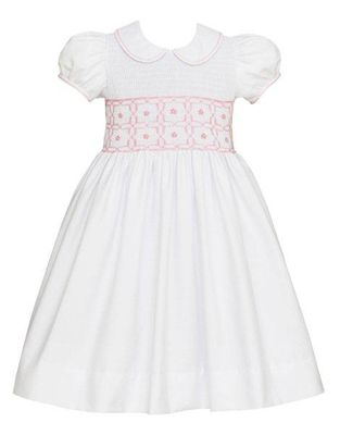 Anavini Couture Girls White Pique Dress with Collar - Bodice Smocked in Pink