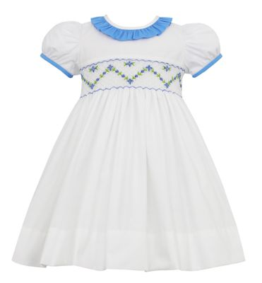 Anavini Couture Girls White Poplin Float Dress - Smocked in Blue with Ruffle Collar