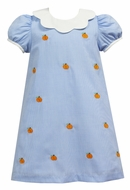 Anavini Girls Blue Check Embroidered Pumpkins Dress - Scallop Collar