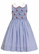 Anavini Girls Blue Check Smocked Sailboats Sleeveless Dress