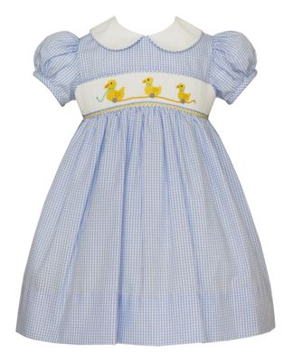 Anavini Baby / Toddler Girls Blue Check Smocked Yellow Duckies Dress with Collar