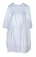 Anavini Girls Blue Floral Dress - Fully Smocked Bodice - Collar & Sash