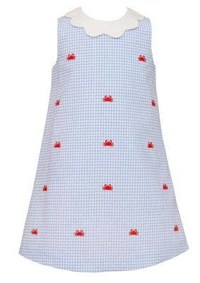 Anavini Girls Blue Gingham Seersucker Embroidered Crabs Dress with Scallop Collar