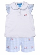 Anavini Girls Blue Gingham Seersucker Shorts with Top - Embroidered Golf Carts