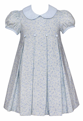 Anavini Girls Blue / Green Liberty Floral Dress with Collar and Pleats
