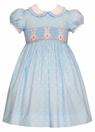 Anavini Girls Blue / Pink Dots Smocked Easter Bunny Dress with Collar