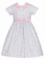 Anavini Girls Blue / Pink Floral Corduroy Dress with Collar