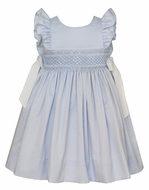 Anavini Couture Girls Blue Smocked Ruffle Sleeve Dress - Bows at Sides