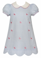 Anavini Girls Blue Stripe Embroidered Bunnies Dress with Scallop Hem