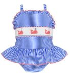1de5f4111ab93 Anavini Girls Blue Stripe Ruffle Swimsuit - Smocked Pink Whales