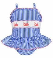 Anavini Girls Blue Stripe Ruffle Swimsuit - Smocked Pink Whales