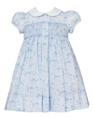 Anavini Girls Blue Toile Smocked Pleat Dress with White Collar