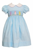 Anavini Girls Blue / White Dots Smocked Pastel Peeps Cottontail Easter Bunnies - Dress with Collar