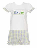 Anavini Girls Blue / Yellow Plaid Shorts with Smocked Golf Top