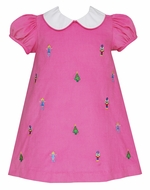 Anavini Girls Bubblegum Pink Corduroy Float Dress with Collar - Nutcracker Embroidery