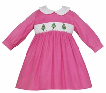 Anavini Girls Bubblegum Pink Corduroy Smocked Christmas Trees Dress - Long Sleeves - Ruffle Collar