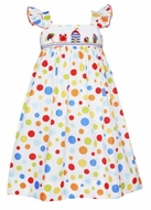 Anavini Velani Girls Colorful Dots Smocked Beach Cabana Sun Dress
