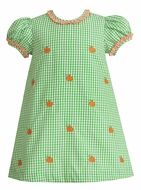 Anavini Girls Green Check Embroidered Orange Pumpkins Float Dress