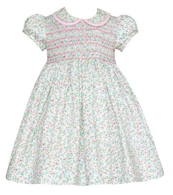 Anavini Girls Green Pastels Liberty Floral Smocked Dress with Collar