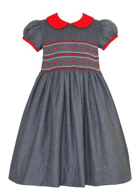 Anavini Girls Grey Dress - Red Collar - Fully Smocked Bodice