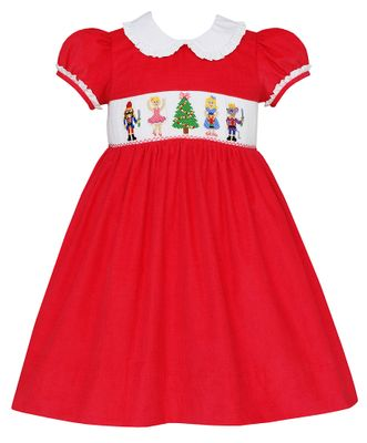 Anavini Girls Hot Pink Corduroy Smocked Nutcracker Ballet Dress - Ruffle Collar