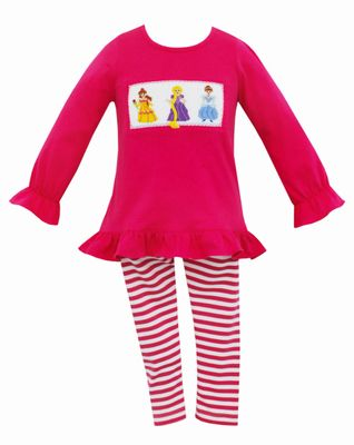 Anavini Girls Hot Pink Smocked Princess Tunic Top with Striped Leggings