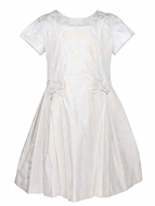 Anavini Girls Ivory Brocade Special Occasion Dress with Bows