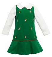 Anavini Girls Kelly Green Corduroy Jumper with Embroidered Reindeer - Includes Blouse