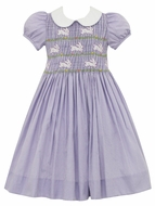 Anavini Girls Lavender Check Smocked Bodice Easter Bunny Dress with Collar