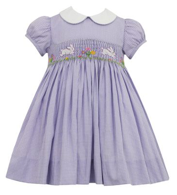 Anavini Girls Lavender Check Smocked Easter Bunny Dress with Collar