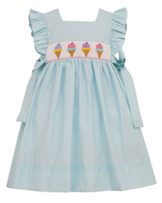 Anavini Girls Mint / White Dots Smocked Ice Cream Dress - Bows at Sides