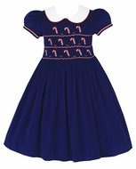 Anavini Girls Navy Blue Corduroy Candy Canes Dress - Collar - Fully Smocked Bodice