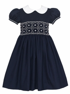 Anavini Girls Navy Blue Dress - White Collar - Fully Smocked Bodice