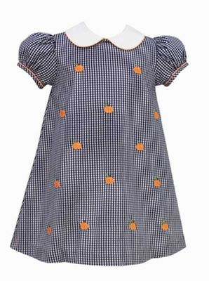 Anavini Girls Navy Blue Gingham Dress with Collar - Embroidered Orange Pumpkins
