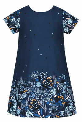 Anavini Girls Navy Blue Twill Dress - Printed Fall Floral Border
