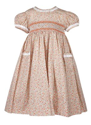 Anavini Couture Girls Orange Fall Floral Smocked Float Dress with Pockets