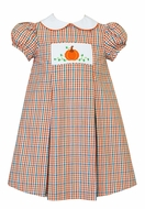 Anavini Girls Orange Plaid Smocked Pumpkin Float Dress with Collar