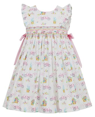 Anavini Girls Pink Bicycle Garden Smocked Dress with Side Bows