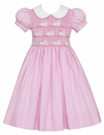 Anavini Girls Pink Check Smocked Easter Bunnies Dress with White Collar